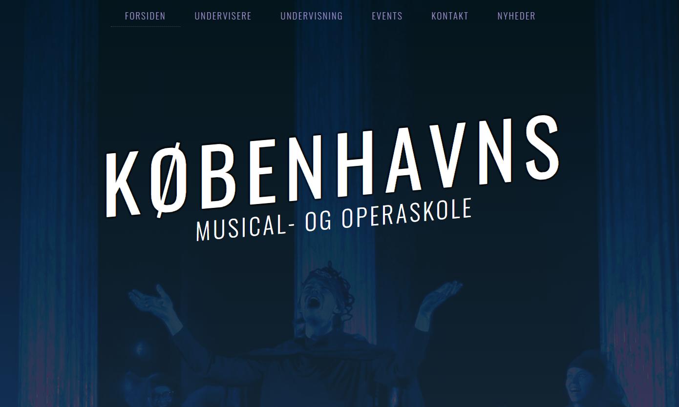 """Screendup af websitet """"Københavns musical- og operaskole"""""""